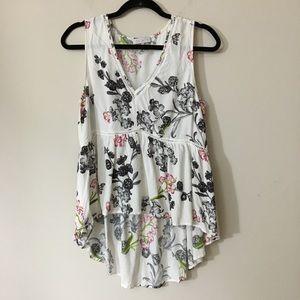 1. STATE sleeveless v-neck hi-low floral top